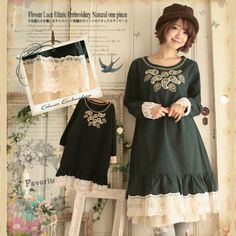 Autumn Japanese Solid Lace Ethnic Embroidery Dresses Women Loose Mori Girl Long Sleeve Cute Kawaii Stitch Dress All Match X057