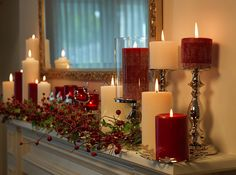 dusk candles on mantle with classic candleholders.  Yes!!!!!