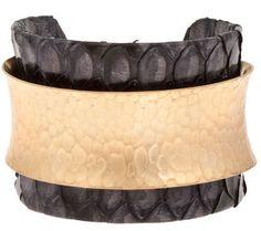 Kara Ross Wide skin wrap cuff with hammered metal brass plate Modern Jewelry, Metal Jewelry, Hammered Gold, Brass, Acoustic Drum, Statement Jewelry, Kara, Cuff Bracelets, Gold Plating
