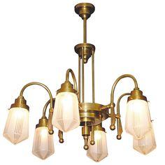 Art déco-Leuchter mit Dekorschliffgläsern ALTO ADIGE 6 von Art Nouveau Lamps - Foto