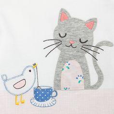 Buy John Lewis Baby Cat and Bird Long Sleeve Top, Cream, Newborn Online at johnlewis.com