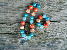 Children's Chunky Bead Necklace Set- Bubblegum Bead Necklace Bracelet Set- Tangerine and Turqoise- Orange and blue bead set