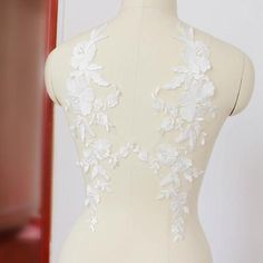 Heavily Pearl Beaded Bridal Lace Applique in Off White for Wedding Dress Gown Costume, Illusion Back Gown Lace Motif Patch Bridal Hair Flowers, Bridal Wedding Dresses, Lace Flowers, Lace Weddings, Lace Wedding Dress, Ivory Wedding, Floral Lace, Wedding Sash, Decor Wedding