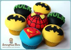 Marvel Superhero cupcakes, by Scrumptious Buns, UK