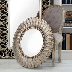 Find the perfect wall hanging mirror to complement new or existing decor. Choose from a wide range of wall mirrors such as round mirrors, vintage mirrors and beautiful bevelled mirrors all available online from Dunelm. Art Deco Mirror, Mirror Wall Art, Round Wall Mirror, Round Mirrors, Hanging Mirrors, Mirror Mirror, Ornate Mirror, Vintage Mirrors, Champagne Living Room