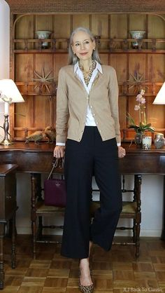 classic fashion over 50 talbots cardigan black cropped pants janis lyn johnson delivers online tools that help you to stay in control of your personal information and protect your online privacy. Fashion For Women Over 40, 50 Fashion, Look Fashion, Trendy Fashion, Fashion Women, Define Fashion, Fashion Clothes, Feminine Fashion, Fashion 2018