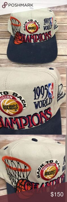 "Vintage 1995 Houston rockets NBA hat 1995 ""BACK TO BACK"" Houston Rockets Championship hat by Starter with snap on back!!!     Every Houston Rockets fan would love this as an addition to your Houston Rocket collection! NBA Accessories Hats"