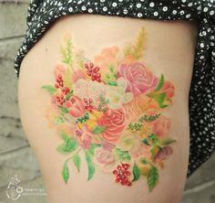 부케를 모티브로 디자인한 꽃타투,여성타투 by 아로새기다타투 : 네이버 블로그