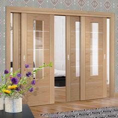Thruslide Portici Oak Flush - 4 Sliding Doors and Frame Kit - Aluminium Inlay & Clear Glass - Prefinished   - Lifestyle Image.    #interiordoors #oakdoros #slidingdoors