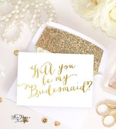 White & Gold Foil, Will you be my Bridesmaid, Maid of Honor card, bridal party proposal set, invitation instant download DIY Printable