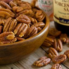 Savory Pecans  4 cups pecans halves 1/3 cup unsalted butter, melted 2 teaspoons Worcestershire sauce 1 1/4 teaspoons kosher salt 1/2 teaspoon garlic powder  1/2 teaspoon ground mustard  1/2 teaspoon Tabasco sauce    1/4 teaspoon cayenne pepper, or to taste    Bake in 300°F. oven for 20 min. or until lightly browned.