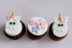*Please check my shop announcements for my current production schedule: http://www.etsy.com/shop/parkersflourpatch?ref=si_shop ...................................................................................................................  This listing is for 12 handmade fondant toppers for cupcakes, cookies or brownies. You will receive 6 unicorn and 6 flower toppers.  These toppers are around 2.5 inches in diameter and are made to fit regular-sized cupcakes. Custom designs and colors…