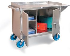 Stainless Steel Mobile Cart with 8 Inch Casters - Stainless steel tool Cart with 1 half width shelf on left side and open area on right side. Also includes a vise shelf on the right side. Doors are lockable with a pad lock using our locking system. Tool Cart, Stainless Steel Cabinets, Industrial Storage, Garage Storage, Kitchen Cart, Storage Solutions, Shelves, Bbq, Doors