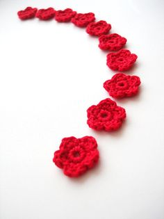 Crochet Flower Appliques Tiny Small Cute Flowers