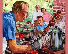 wow, a male cooking in a 1950s ad, ar yes, its a bbq ad, that explains yet another prevailing stereotype from my childhood