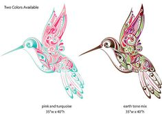 Hummingbird Swirl Wall Sticker Decal by MyWallStickers on Etsy Wall Sticker, Decals, Earth Tones, Hummingbird, Wall Murals, Rooster, Home Improvement, Stickers, Pink