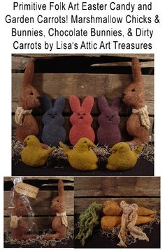 Primitive Folk Art Easter Candy Bunny Rabbits by lisasatticart, $5.00