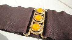 Brown Elastic Gold Belt Vintage by CraftySara on Etsy https://www.etsy.com/listing/187493307/brown-elastic-gold-belt-vintage