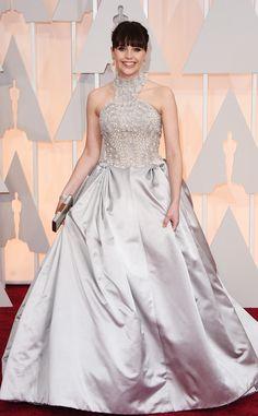 Felicity Jones in Alexander McQueen.   from 2015 Oscars: Red Carpet Arrivals | E! Online