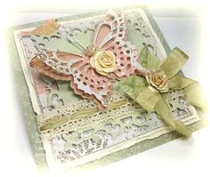 A gorgeous butterfly card by Linda using product by Prima, Spellbinders and May Arts for The Stamp Simply Ribbon Store.