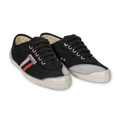 Backyard Footwear BLACK WITH WHITE + RED STRIPES canvas sneakers.  Tired of the same old canvas sneakers?  Comfort and Scandinavian design make this handmade sneaker from Denmark your go to shoe.