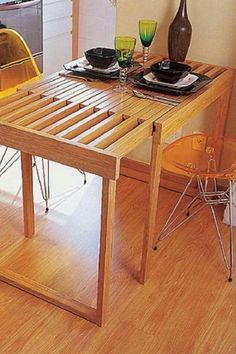 66 Handsome Small Dinning Table Design Ideas on A Budget - DIY Furniture Plans Folding Furniture, Smart Furniture, Space Saving Furniture, Wood Furniture, Furniture Design, Space Saving Dining Table, Furniture Market, Furniture Plans, Dinning Table Design