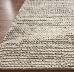 Textures Handmade Wool Cable White Rug | Contemporary Rugs