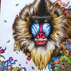 #baboon #animorphia #kerbyrosanes #arttherapy #coloringforadults #coloredpencil #adultcoloring #adultcoloringbook