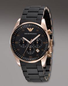 0adc138f0ee Empório Armani - Pusleira emborrachada -Chronograph AR 59052 Relógios De  Luxo