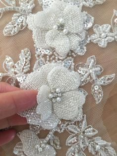 Luxury beaded tulle rhinestone applique, there are 3 layers of beaded flower which are hand sewn to back soft tulle crystal beaded applique with camellia flower 🌺Luxury Rhinestone Applique in Mint Royal Blue Ivory WineItems similar to Luxury beade Pearl Embroidery, Tambour Embroidery, Couture Embroidery, Silk Ribbon Embroidery, Embroidery Jewelry, Hand Embroidery Designs, Lace Applique, Beaded Lace, Beaded Flowers
