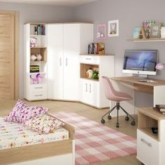 Corner wardrobe in light oak and white high gloss with opalino handles Corner Wardrobe, Open Wardrobe, Wardrobe Storage, Bedroom Storage, Adjustable Shelving, Open Shelving, Kids Corner, Corner Desk, Hanging Wardrobe
