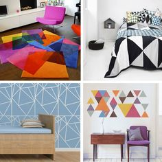 Bring your home to life with geometric patterns and designs: If you're tired of the same old dated decor, inject some colourful geometric shapes... http://www.wallsandfloors.co.uk/blog/whip-your-home-into-shape-with-geometric-designs/