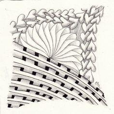 Ein Zentangle aus den Mustern Ziphart, Weben, Phicops,  gezeichnet von Ela Rieger, CZT