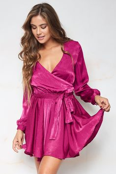 88c2c7e19b82 Margaret Satin Wrap Dress - Fuchsia