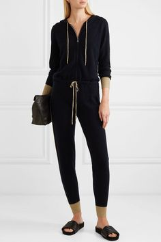 Navy and gold cashmere Zip fastening along front cashmere Dry clean My Beauty Routine, Dita Von Teese, Jennifer Fisher, Piece Of Clothing, Minimal Fashion, Casual Chic, Fall Outfits, Hoods, Fitness Models