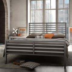 Amisco Theodore Metal Bed - Revolutionize your nightlife with the Amisco Theodore Metal Bed. Best-quality steel forms the frame, headboard, and footboard you see here. A ...