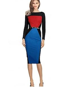 Women's Vintage Bateau Dress , Polyester Multi-color Bodycon