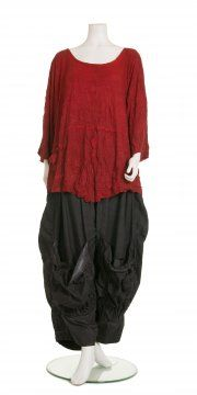 Red Crinkle Jersey Oversized Top