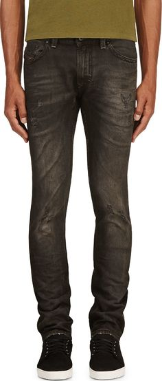 Diesel - Black Faded & Distressed Thavar L.32 Jeans | SSENSE