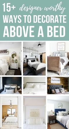 15+ Designer Worthy Ways To Decorate Wall Above A Bed in Master Bedroom   Creative and Simple Tips and Ideas For Couples Decorating Over The Bed   Lots of pictures for cozy bedroom inspiration   Minimalist Modern Boho Farmhouse French Country Romantic Shabby Chic styles included! #bedroom #masterbedroom #interiordesignideas #design