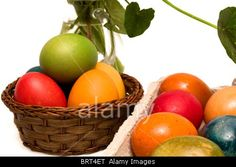 Royalty free stock photography from Alamy: Colorful Easter eggs isolated on white background.