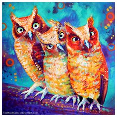 I just love the range of facial expression that owls can make. While painting it, I got the feeling like they are looking at me as if I just told a terrible pun and I found it quite amusing =] This...