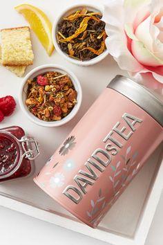 Keep your tea fresh with this lovely, limited edition floral-printed tea tin. Davids Tea, Perfect Cup Of Tea, Tea Tins, Tea Packaging, Rose Tea, Loose Leaf Tea, Cute Food, Tea Service, Drinking Tea