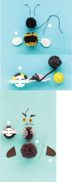Pom-Pom Animals from Martha Stewart's Favorite Crafts for Kids Crochet Crafts, Yarn Crafts, Diy And Crafts, Crafts For Kids, Arts And Crafts, Easter Crafts, Christmas Crafts, Pom Pom Animals, Wool Dolls