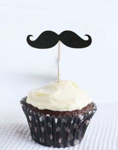 50 - black die cut mustaches moustaches cupcake toppers DIY party pack birthday wedding - Free Shipping. $15.00, via Etsy.
