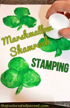 Shamrock marshmallow stamping craft & activities for kid's on St. Patrick's Day Shamrock marshmallow stamping craft & activities for kid's on St. March Crafts, St Patrick's Day Crafts, Daycare Crafts, Classroom Crafts, Arts And Crafts Projects, Diy Crafts, Garden Crafts, Decoration Crafts, Paper Crafts