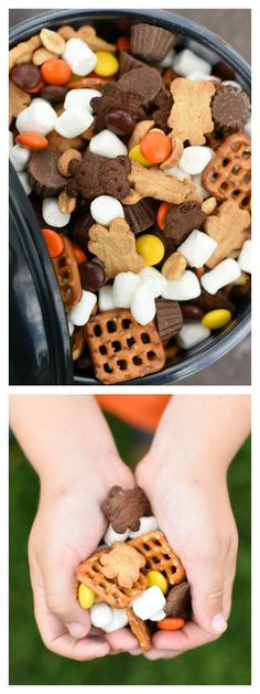 Healthy Snacks Perfect Peanut Butter S'mores Snack Mix – Fun-Squared - Perfect Peanut Butter S'mores snack mix is a great way to feed those hungry kid's tummies. It's a super simple recipe that anyone can make. Snack Mix Recipes, Yummy Snacks, Fall Recipes, Lunch Snacks, Yummy Treats, Sweet Treats, Yummy Food, Lunches, Trail Mix Recipes