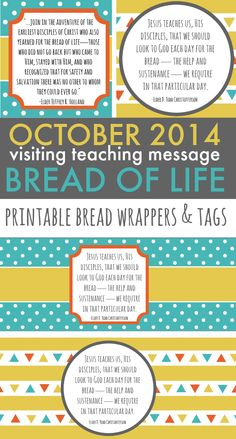 October 2014 Visiting Teaching Message - Printable Bread Wrappers and Tags - ldslane.net