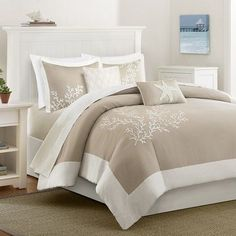 Harbor House Coastline King/Cal King 5 Piece Duvet Set in Khaki - Olliix a bit of sea side inspiration into your home with this beautiful bedding collection. The Coastline collection has an intricate coral motif embroidered on a soft c Full Comforter Sets, Duvet Sets, Duvet Cover Sets, Beach Comforter, Taupe Comforter, Comforter Cover, Beach Bedding Sets, Twin Comforter, Linen Bedding