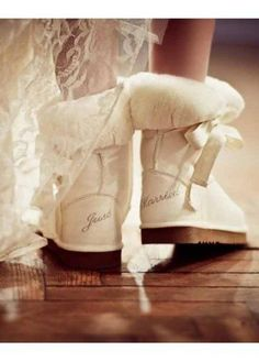 Cupid Bow Just Married Cupid Sheepskin Boots. How gorgeous are these Love From Australia Just Married Boots. Soft Ivory sheepskin LFA cupid bow boots with braid ties on the side. At the back in Silver embroidery is JUST MARRIED. Perfect for the honeymoon or perfect as a wedding gift. ** F.Y.I. I do not know anyone in Australia who has worn Ugg Boots as any part of their Wedding attire.lol.